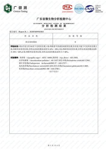 干粉排列三字谜泥检测报告:耐霉菌性能