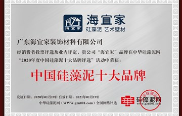 实力见证|海宜家连续荣获中国排列三字谜泥十大品牌及十佳消费者信得过品牌
